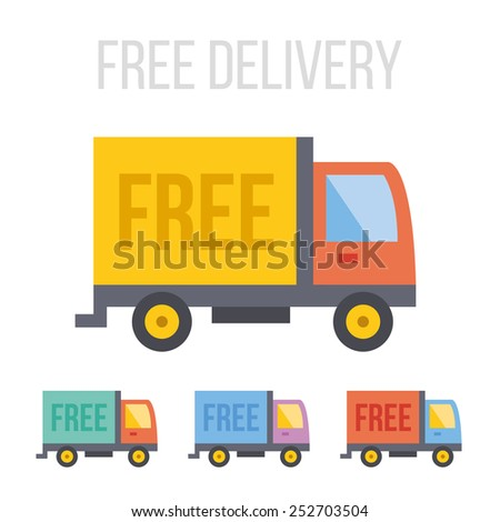 Vector free delivery truck icons. - stock vector