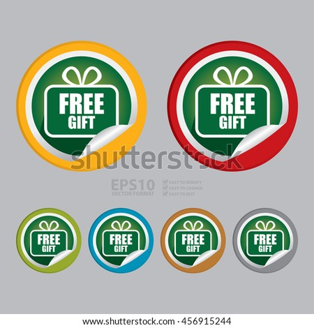 Vector : Free Gift Promotion Campaign Infographics Icon on Circle Peeling Sticker - stock vector