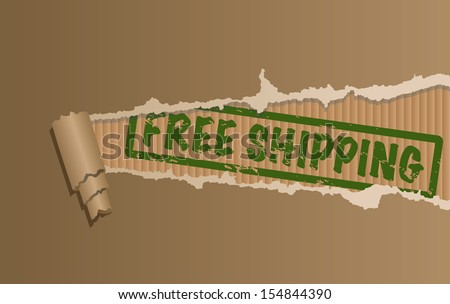 Vector free shipping sign with ripped cardboard. - stock vector