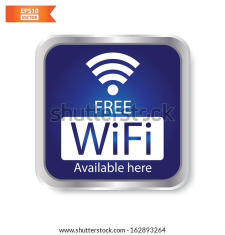 Vector: Free wifi available here sign with blue square isolated. Eps10. - stock vector