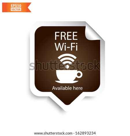 Vector:Free wifi cafe sticker with brown color. Eps10. - stock vector