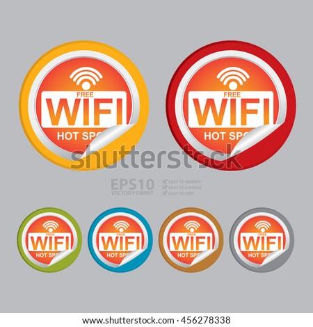 Vector : Free Wifi Hot Spot Infographics Icon on Circle Peeling Sticker - stock vector