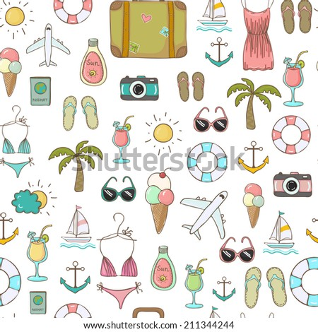 Vector freehand drawn travel on vacation summer seamless background