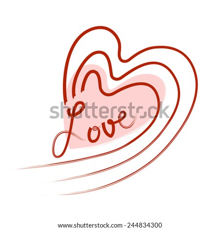 "Vector Freehand Heart Design with Text  ""Love"", In Red And Pink Color, Isolated On White Background - stock vector"