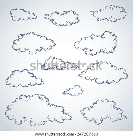 Vector freehand sketchy ink outline drawn backdrop in style of kid book engraving with place for text. Collection of soft lush fluffy cumulus clouds - stock vector