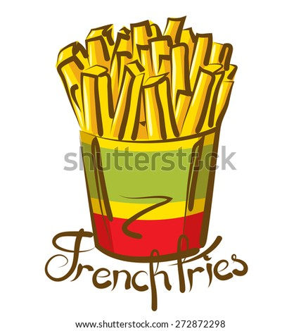 vector french fries with calligraphic inscription - stock vector