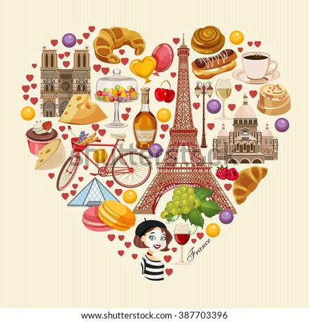 vector french poster sightseeing paris france stock vector royalty free 387703396 shutterstock. Black Bedroom Furniture Sets. Home Design Ideas
