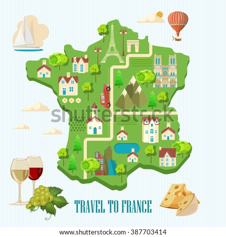 Vector french poster. Sightseeing of Paris and France. Romantic tourist card in vintage style. French cuisine, wine, fashion and culture. Flat map.
