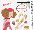 Vector Frenchwoman and French pastry. French baguette and croissant. Background consist of poems - stock vector