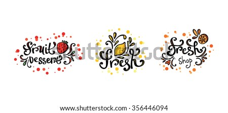Vector fresh bar logo. Drink, cocktailes, fresh and smoothie label, badge and design element. Lemon fresh, Strawberry dessert - stock vector