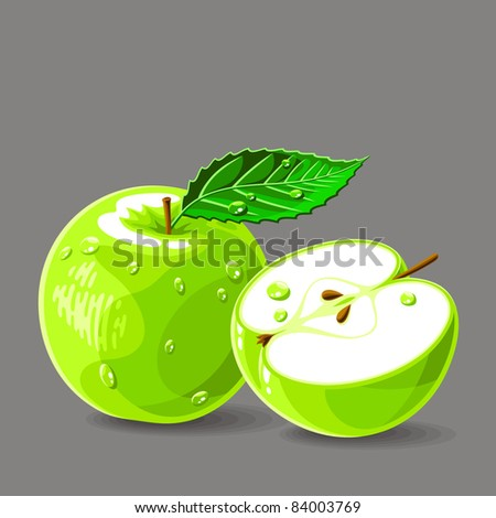 Vector fresh green apples with water drops. Vector illustration. - stock vector