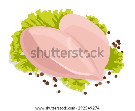 Vector fresh raw chicken breasts with black peppercorns, isolated on white background  - stock vector