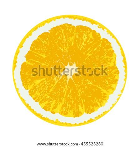Vector fresh ripe slice of orange isolate on white - stock vector