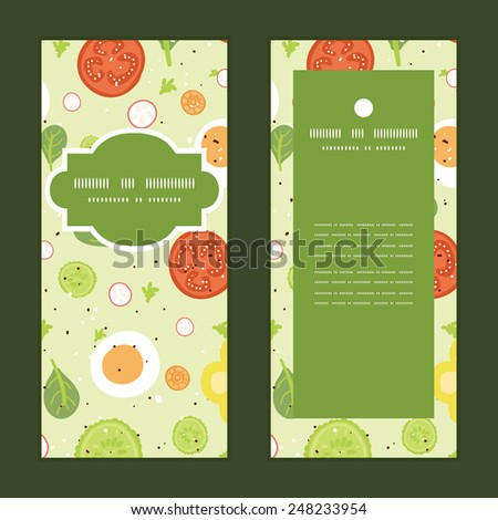 Vector fresh salad vertical frame pattern invitation greeting cards set - stock vector
