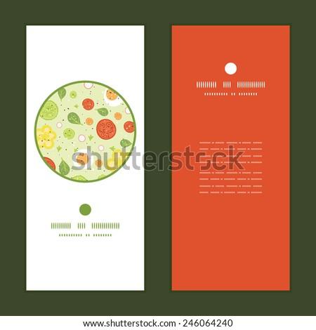 Vector fresh salad vertical round frame pattern invitation greeting cards set - stock vector