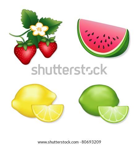 vector - Fresh Summer Fruits: Lemon, Lime, Strawberry, Watermelon.  EPS8 organized in groups for easy editing. - stock vector