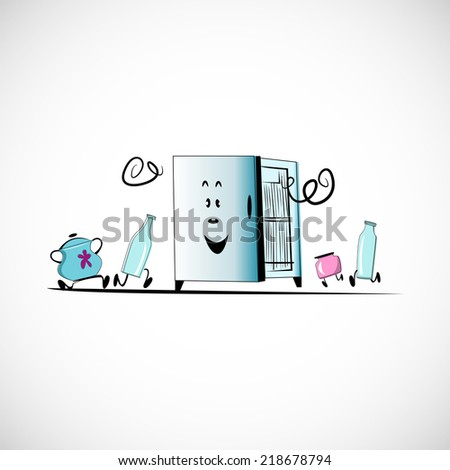 Vector fridge with food on a light background. - stock vector