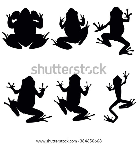 Vector frogs silhouette on the white background. Six frog silhouettes. Collection of vector frogs silhouette isolated. Vector silhouettes of frogs , top view - stock vector