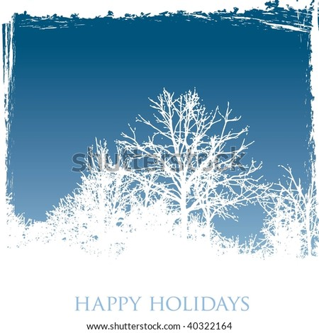 Vector frosty winter windowpane Christmas or New Year's greeting card with 'Happy Holidays' text at the bottom