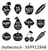 Vector fruit and vegetables logo. Fruit and vegetables silhouettes with lettering. Fruits and vegetables icons for groceries, agriculture stores, packaging and advertising. Vector labels design. - stock vector