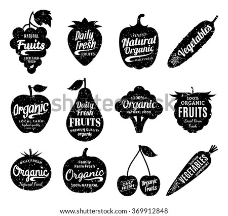 Vector fruit and vegetables logo. Fruit and vegetables silhouettes with lettering. Fruits and vegetables icons for groceries, agriculture stores, packaging and advertising. Vector labels design.