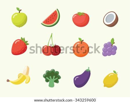 Vector fruit icon set - stock vector