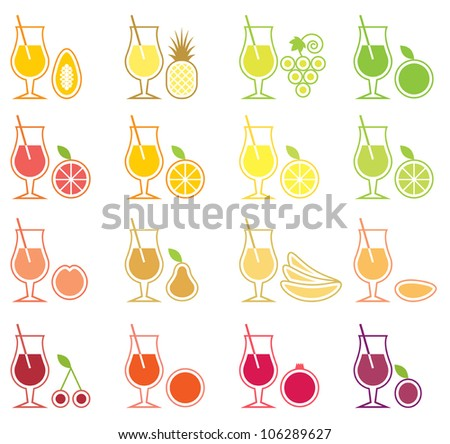 Vector Fruit Juice Icon Set