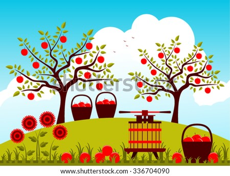 vector fruit press and baskets of apples in apple orchard ...