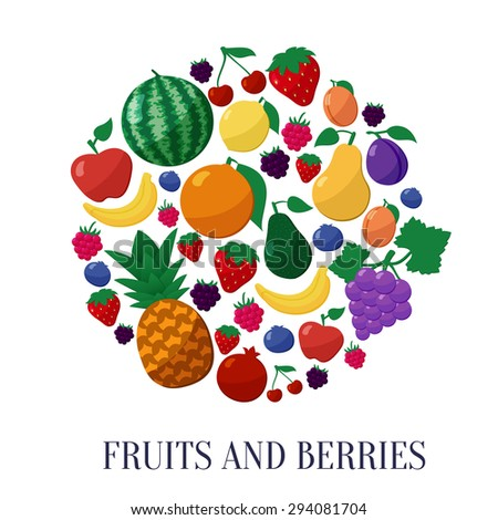 Vector Fruits and Berries Flat Style Icons Set in Circle Shape Isolated over White  Background with Apple, Banana, Lemon, Cherry, Strawberry, Raspberry, Blueberry, Blackberry, Grapes, Orange, Plum - stock vector