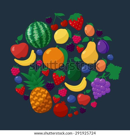 Vector Fruits and Berries Flat Style Icons Set in Circle Shape over Dark Background with Apple, Pear, Banana, Lemon, Cherry, Strawberry, Raspberry, Blueberry, Blackberry, Grapes, Orange, Plum, Apricot - stock vector