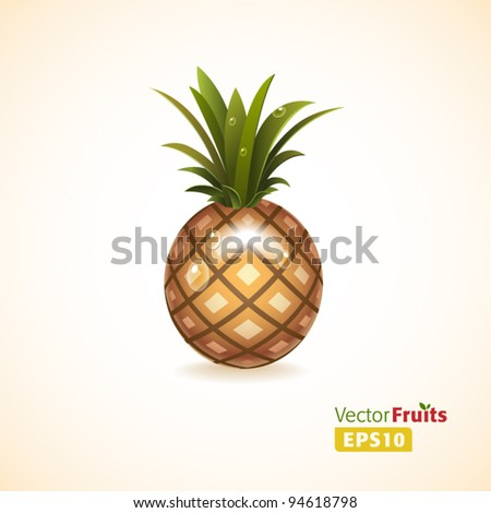 Vector fruits illustration. Pineapple - stock vector
