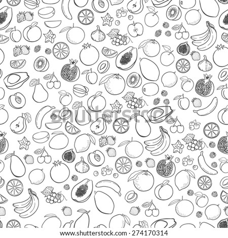 Vector fruits pattern. Fruits seamless background