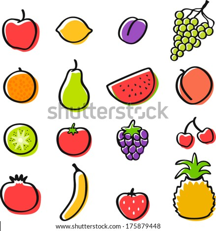 vector fruits set - Separate layers for easy editing