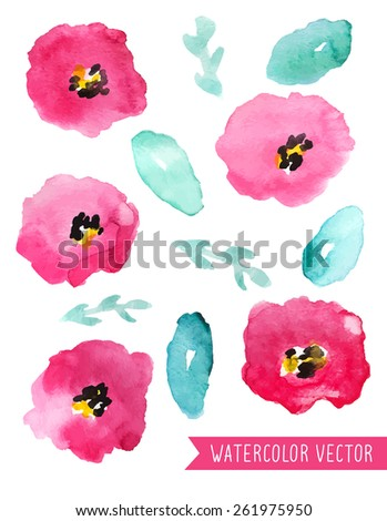 Vector Fuchsia Watercolor Flowers And Leaves Collection - stock vector