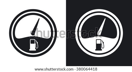 Vector fuel gauge icon. Two-tone version on black and white background - stock vector