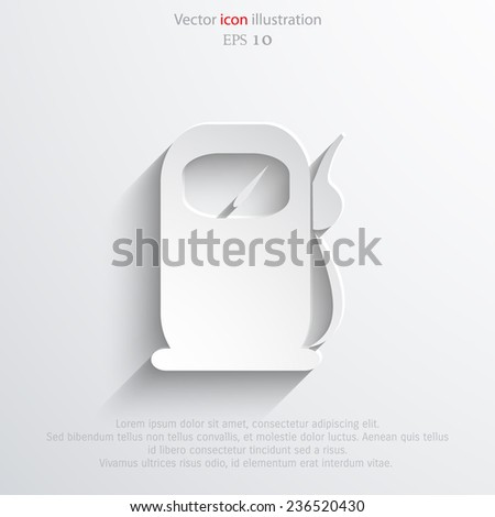 Vector fuel station web flat icon. Eps 10 illustration. - stock vector