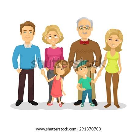 Vector full family flat cartoon illustration - stock vector