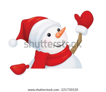 Vector  fun snowman hiding by blank isolated. - stock vector