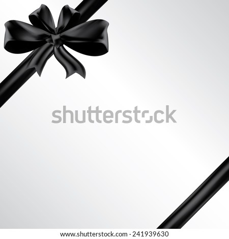 Vector funeral card with black ribbon, place for text - stock vector