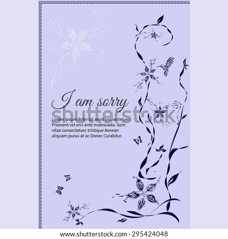 Vector funeral card with elegant abstract floral motif - stock vector