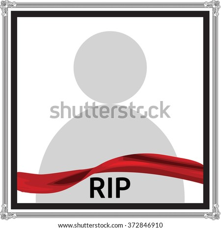 Vector funeral card with elegant ribbon, place for text and photo - stock vector