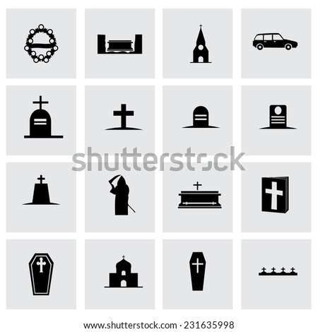 Vector funeral icon set on grey background - stock vector