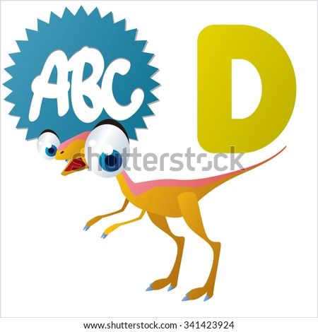 vector funny animals alphabet collection: D is for cute comic Dinosaur - stock vector