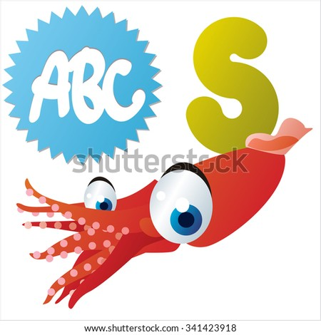 vector funny animals alphabet collection: S is for cute comic Squid - stock vector