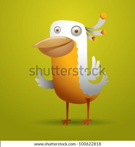 vector funny bird 3 - stock vector