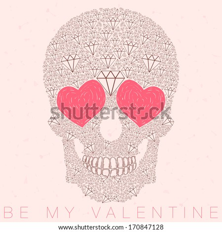 vector funny, candy, brown skull with heart eyes, diamonds, brilliants. love and valentine's day - stock vector