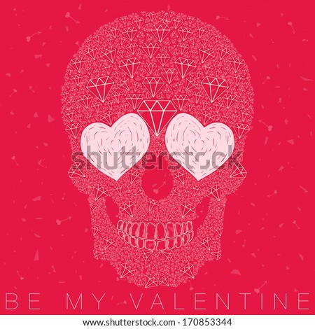 vector funny, candy skull with heart eyes, diamonds, brilliants. love and valentine's day - stock vector