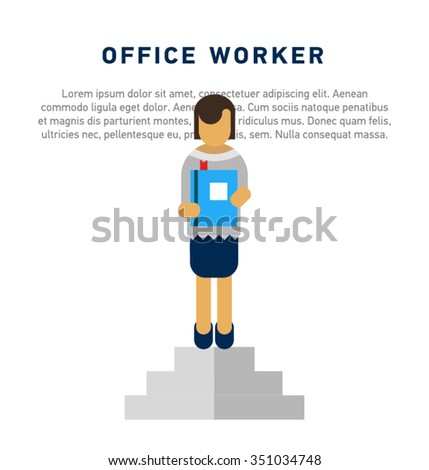 Vector funny cartoon business woman in various poses for use in presentations. Woman, female. Simple vector female office worker character standing. - stock vector