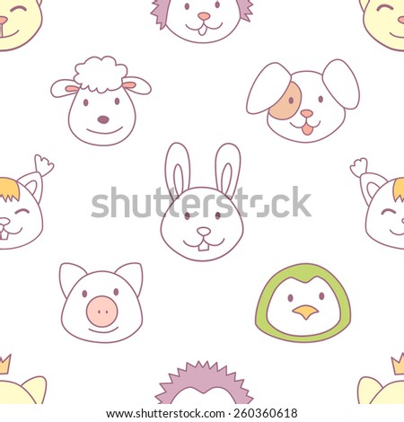 Vector funny cute animals faces seamless pattern, wild and farm animals - stock vector