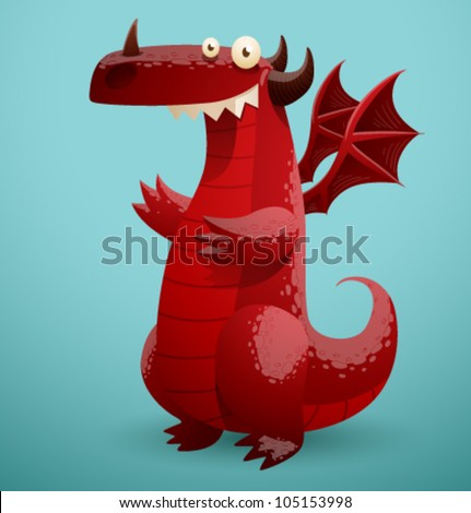 Vector Funny Dragon 2 - stock vector